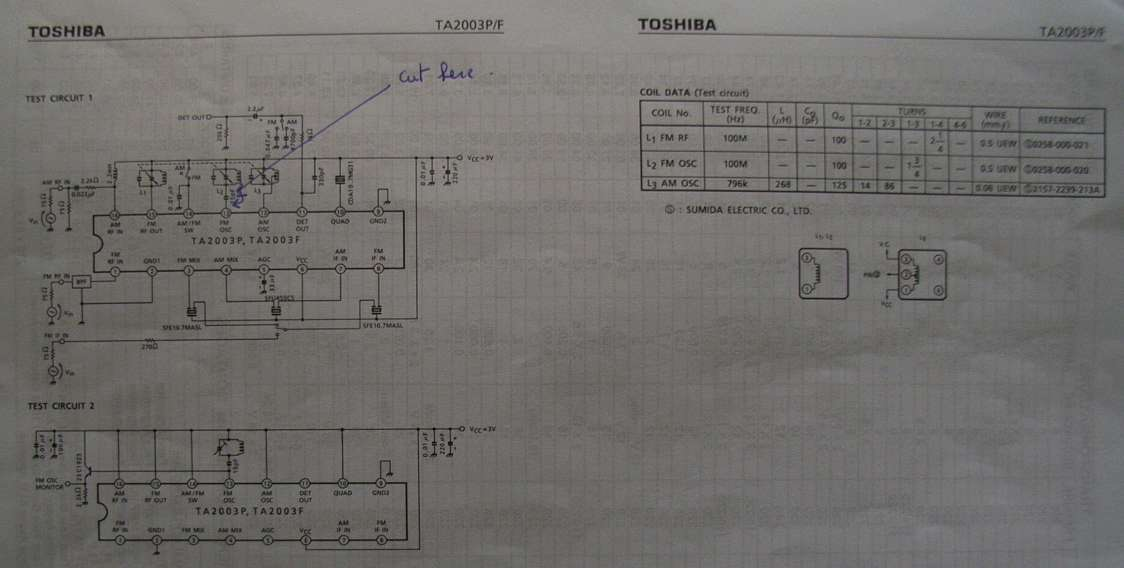You have to locate the IC which is doing the frequency conversion .In our case it was a TA2003 from Toshiba